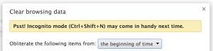 Google Chrome Incognito Mode Message