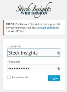 WordPress Admin Login Cookies Blocked Error Message