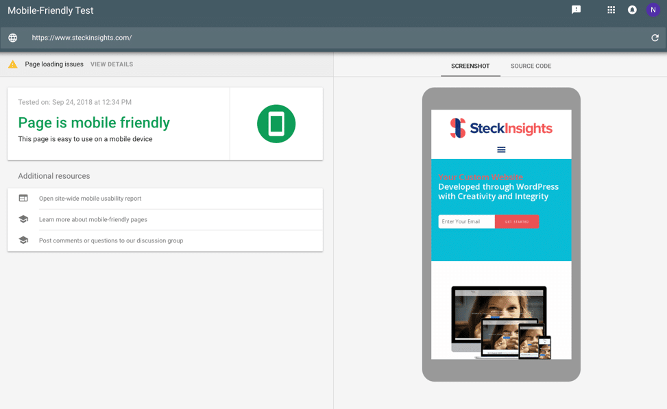 Steck Insights Mobile-Friendly Test Results