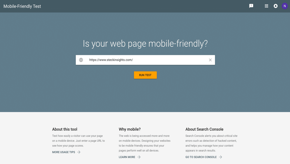 Google's Mobile-Friendly Test