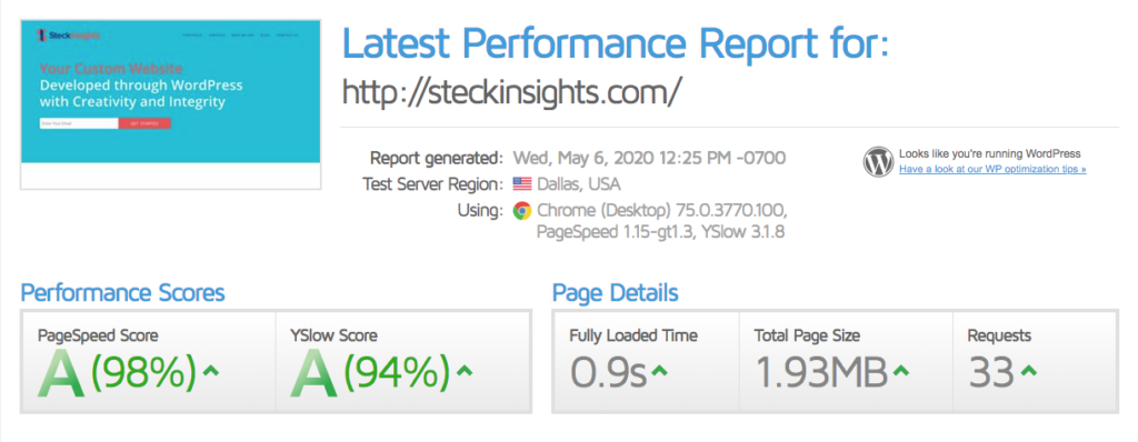 WordPress site speed